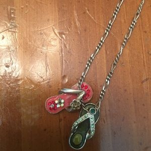 "18"" silver chain with 2 sandal charms"